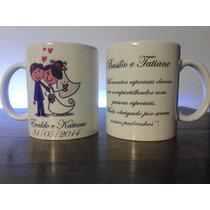 6 Canecas Personalizadas Casamento, Gratis Selofane + Laço