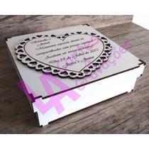 Lembrança Personalizada Padrinhos Casamento Caixa Mdf Branco