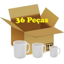 Caneca Branca Porcelana Para Sublimação Caixa 36 Unidades