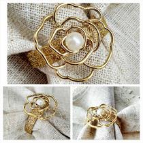 Porta Guardanapo Flor Dourada Com Delicada Pérola - Luxo