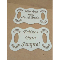 Kit Duas Placas Casamento Frases Personalizadas Mdf Branco