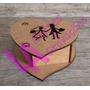 10 Caixas Coração Lembrança Casamento Noivinhos Mdf Crú