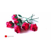 Rosa De Origami - Pacote Com 10 Unidades