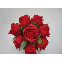 Buquê Bouquet Noiva Flores Rosas Artificiais Vermelho