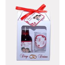 20 Kits Mini Vinho Com 2 Tacinhas + Caixinha + Laço + Arte