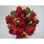 Buque Rosa Noiva Vermelha Bouquet Casamento Artificial