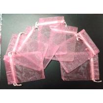 50 Sacos Organza Saquinhos 9x12 P/ Lembrancinhas Rosa