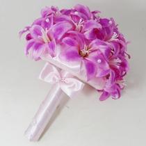 Buquê Bouquet Casamento/noiva Lírios Cor De Rosa