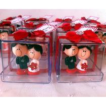 Noivinhos Biscuit E Caixa Acrílica Decorada Festa 24 Peças