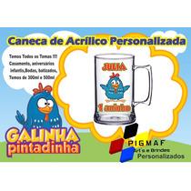 100 Canecas Acrílico Personalizada Galinha Pintadinha 300ml