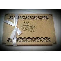 Caixa Convite Casamento Mdf Cru Com Perolas Kit 10 Un.