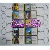 25 Mini Bíblias Com Chaveiro Evangelicas + Cartão Impressos