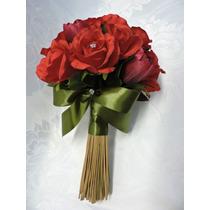 Buquê Bouquet Noiva Casamento Flor Artificial Vermelho