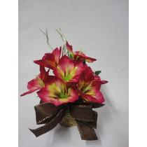 Arranjo Flores Amarilis Vaso Decoração Mesa Chão Artificiais