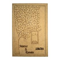 Quadro Assinaturas Casamento - Árvore - 60x45 Laser Mdf 3mm