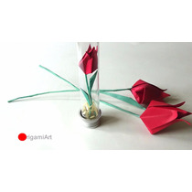 Mini Tulipa Em Tubete - Origami - 10 Unidades