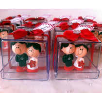 Noivinhos Biscuit E Caixa Acrílica Decorada Festa 100 Peças