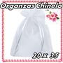 50 Saquinhos De Organza 20x35 C/ Fita De Cetim Branco