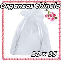 100 Saquinhos De Organza 20x35 C/ Fita De Cetim Branco