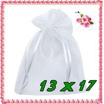500 Saquinhos De Organza 13x17 C/ Fita De Cetim Branco