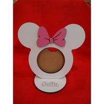 Porta Retrato Minnie - Mdf Branco/rosa. 13cmx14.5cm
