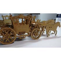 Carruagem Em Mdf Cru Com 2 Cavalos- Enfeite De Mesa Cachepô