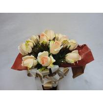 Arranjo Flores Rosas Artificiais Vaso Mesa Decorar