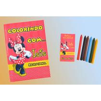 50 Kit Livrinhos/revista Colorir Personalizados+ Giz De Cera