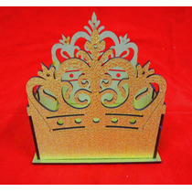 Cachepô Coroa Dourado Mdf