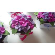 Centro De Mesa - Vasinho, Cachepô Sextavado Flores Em Feltro