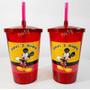 10 Copo Acrílico Mickey Mouse Disney C/ Tampa E Canudo 700ml