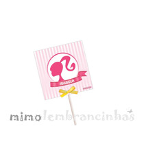 20 Capa Pirulito 5x5cm Personalizado - Tema Barbie
