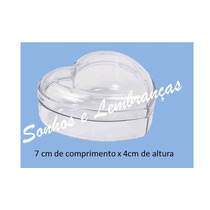 10 Caixinhas Coração 7cm Acrílico Cristal Para Lembrancnhas