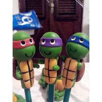 Lápis,ponteira,lembrancinha Tartarugas Ninjas Em Biscuit