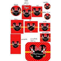 Rótulos Adesivos Personalizados Minie Vermelha 20 Unidades