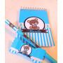 Bloquinhos Personalizados Com Lápis Urso Azul E Marrom - 40