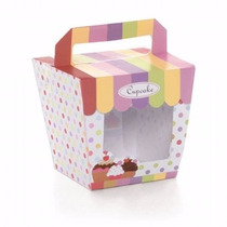 Caixa Visor Tenda C/ Alça P/ 01 Cupcake - Pct C/ 10 Und