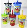 10 Copo Angry Birds Personalizado C/ Tampa Canudo 700ml