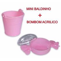 20 Mini Baldinho Plástico + 20 Bombom Acrílico P/ Doce