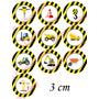 Toppers Adesivos Para Doces Tema Construção 100 Unidades 3cm