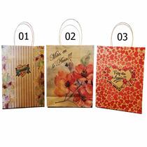 Kit 50 Sacolas De Papel P/presente 285x220x95 Dia Das Mães