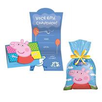 Convite E Sacola Surpresa De Aniversário Festa Peppa Pig