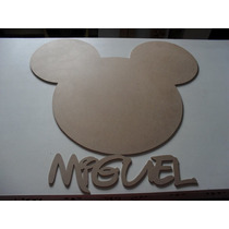 Recorte 01 Cabeça Mickey + 01 Cabeça Minie + 02 Nomes Em Mdf