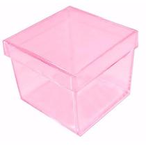 100 Caixinha Acrílica 4x4 Rosa Transparente Lembrancinha