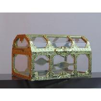 Mini Baú Acrilico Com Dourado 10cm - Pct C/ 12 Unidades