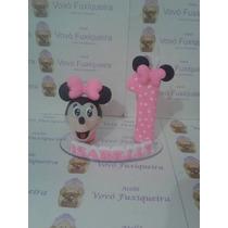 Topo De Bolo Personalizado Minnie Em Biscuit