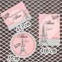 Kit Rótulos Adesivos Personalizados 15 Anos Paris 120 Unid