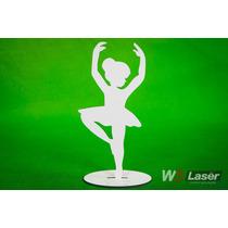 Kit 10 Bailarinas Mdf 20cm Com Base Gravada Decoração Festa