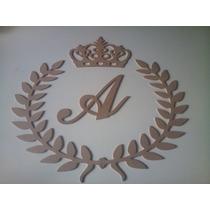 Conjunto De Ramos / Coroa E Letra Inicial Em Mdf