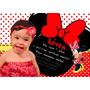 50 Convites Personalizados Minnie Vermelha 10x15